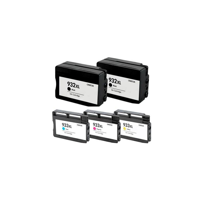 KIT 5 cartucce con 2 nere e tre colori XL compatibili HP 932 -