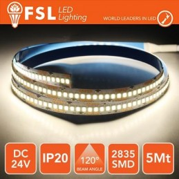 Striscia LED 5m IP20 2835 24V - 16W/m 240led/m 4000K
